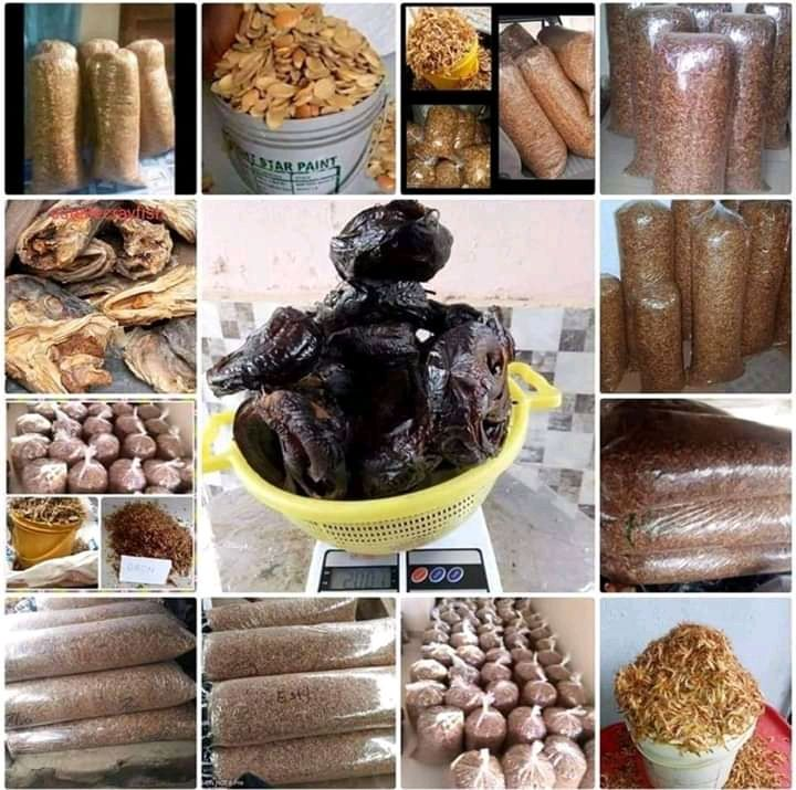 see foods available for sale and crafish available also